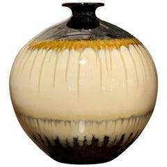 Taupe, Cream and Black Drip Glazed Vase, China, Contemporary