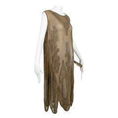 Taupe Crêpe Scallop Hem Flapper Dress with Silver-Plate Glass Beads – M, 1920s