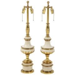 Taupe Enamel, Brass Hollywood Regency Lamps