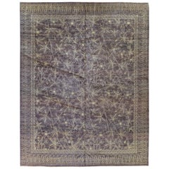 Taupe Floral Stencil Design Wool and Silk Area Rug
