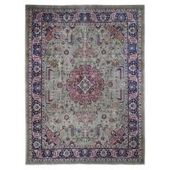 Taupe Green Worn Old Persian Tabriz Vintage Distressed and Clean Bohemian Rug