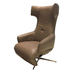 Taupe Leather Battery Powered Recliner with Matt Steel Swivel Base by Leolux
