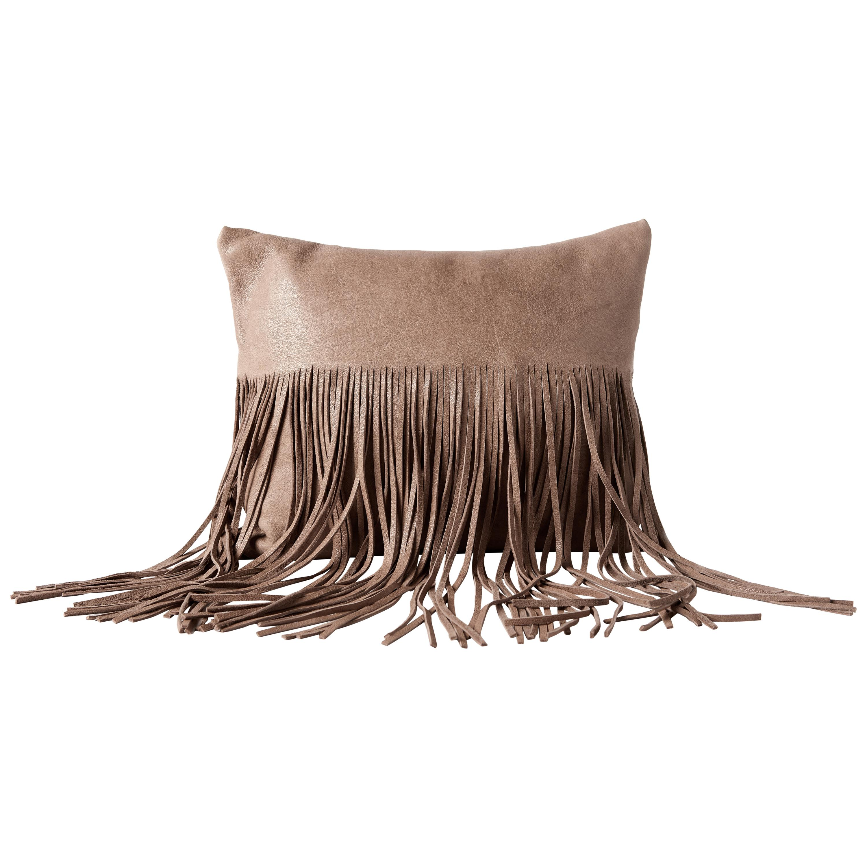 Small Fringe Pillow in Latte Leather by Moses Nadel