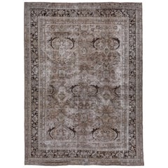 Taupe and Light Brown Geometric Mahal Rug, Neutral Tones, Lightly Distressed