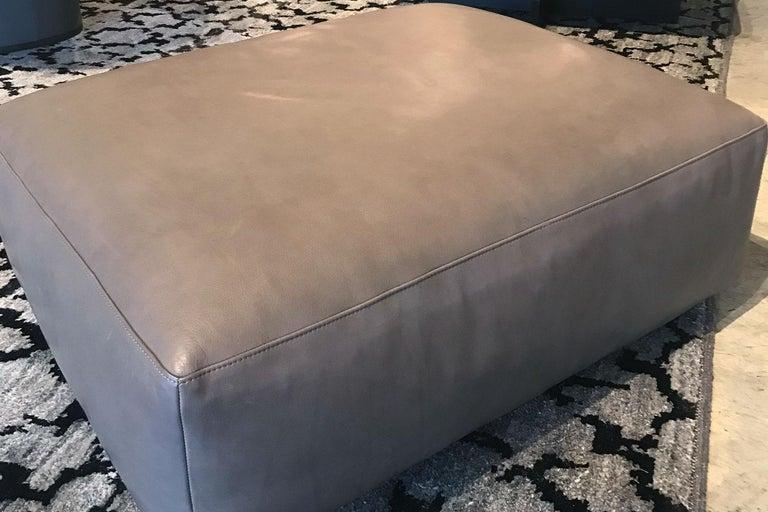 Modern Taupe Open Pore Leather Mex Cube Ottoman, Cassina For Sale