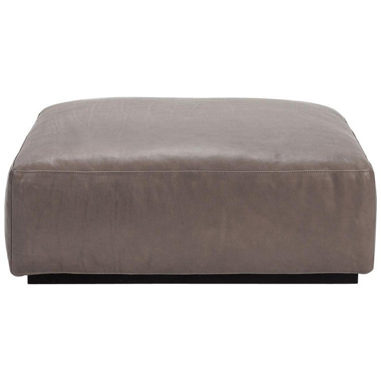 Taupe Open Pore Leather Mex Cube Ottoman, Cassina For Sale