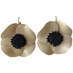 Taupe Poppy Statement Earrings
