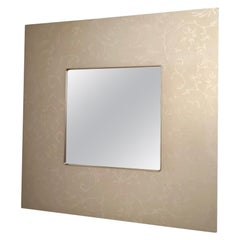 Taupe Square Wall Mirror with Floral Motifs on Frame, Italy, 1980s