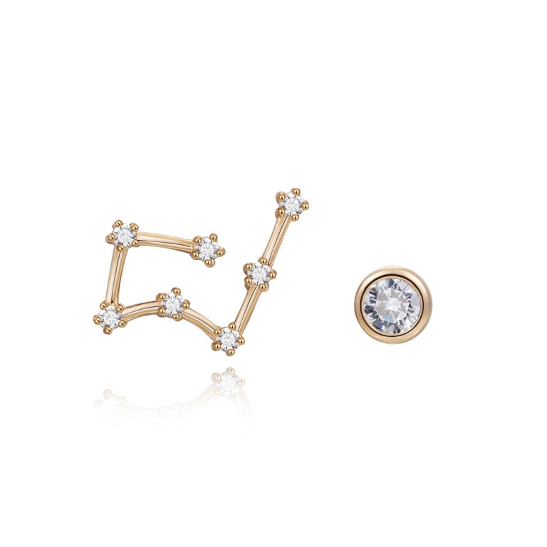Trillion Cut Taurus Constellation Earrings For Sale