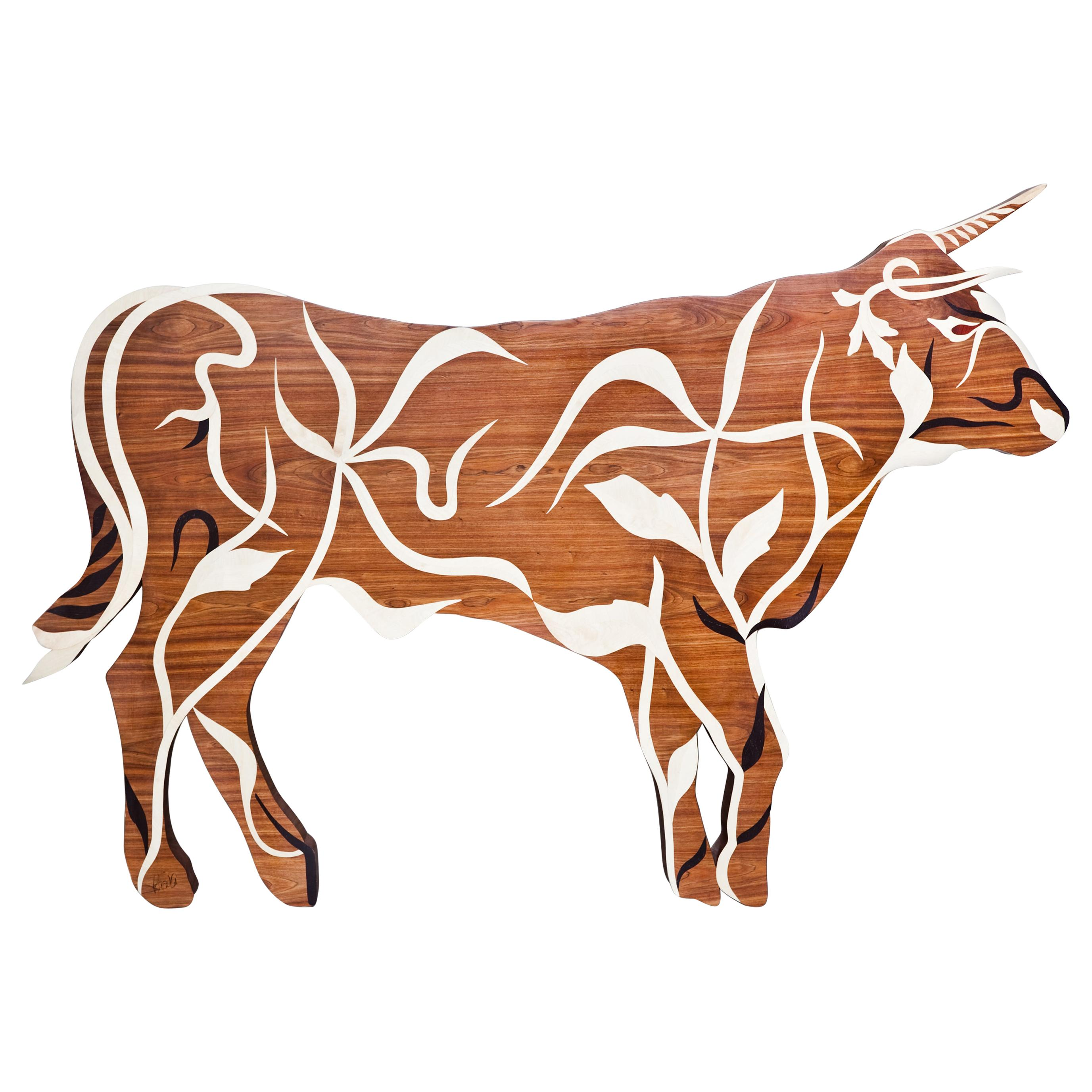 """Taurus"" Inlaid Walnut Art Piece by Ivan Paradisi, Italy"