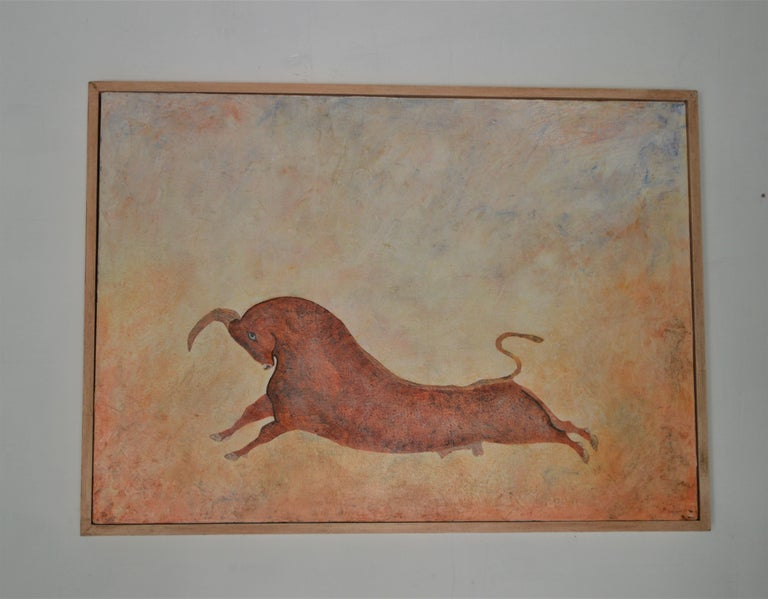Taurus the Bull, legendary creature from Minoan Crete. The bull is an epic and powerful symbol in many civilizations, held in sacred awe by the people. Penny Rumble's leaping, elegant beast is resonant with these powerful cults of the