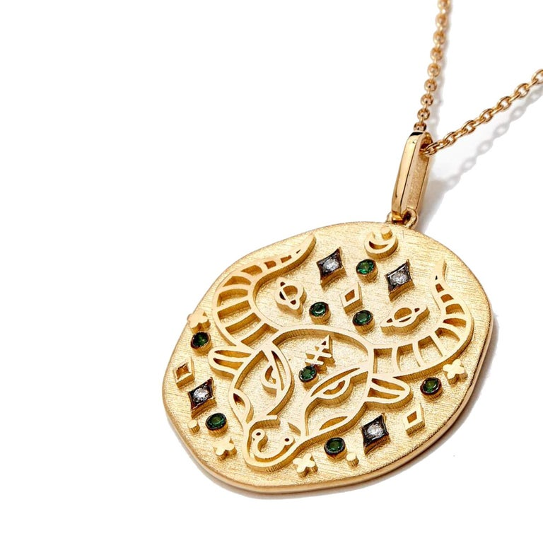 14 Karat Yellow Gold Necklaces Strung With Handcrafted Medallions Illustrating Twelve Horoscope Signs. The Customized Symbol With Brilliant-Cut Diamonds And An Auspicious Birthstone Believed To Protect And Bring Luck To Its Wearer. Allow This