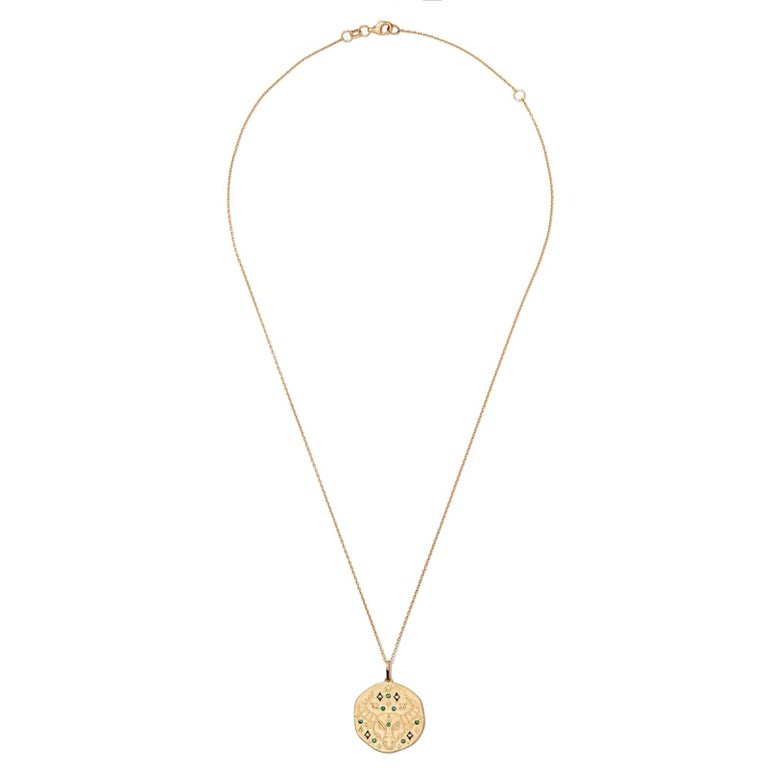 Artisan Taurus Zodiac Charm Necklace, Lucky Stone is Diamond and Emerald 14K Yellow Gold For Sale
