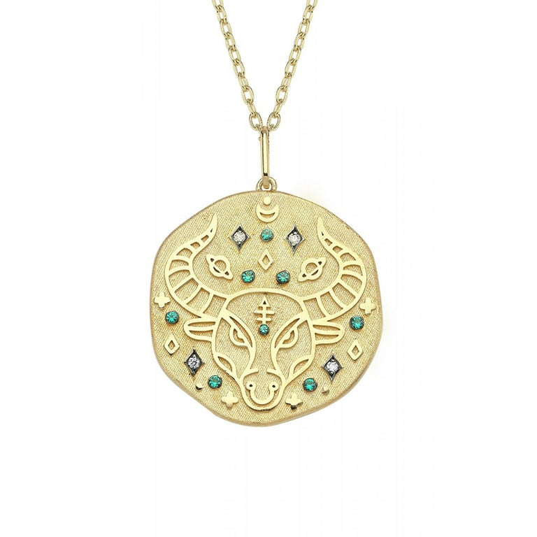 Round Cut Taurus Zodiac Charm Necklace, Lucky Stone is Diamond and Emerald 14K Yellow Gold For Sale