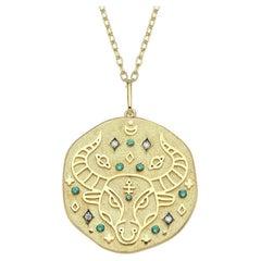 Taurus Zodiac Charm Necklace, Lucky Stone is Diamond and Emerald 14K Yellow Gold