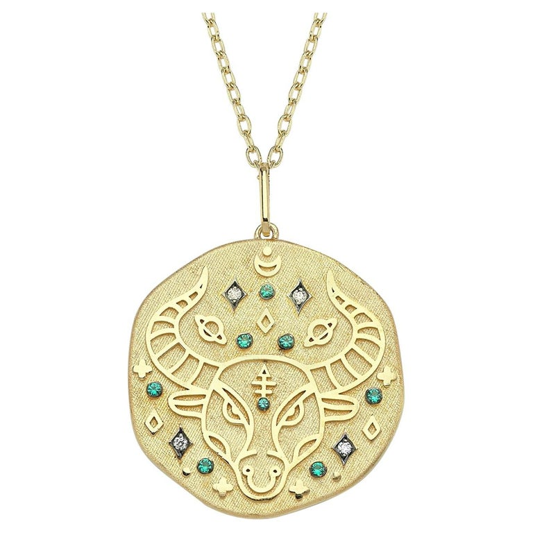 Taurus Zodiac Charm Necklace, Lucky Stone is Diamond and Emerald 14K Yellow Gold For Sale