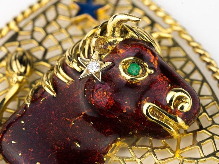 Women's or Men's Taurus Zodiac Pendant by Frascarolo For Sale