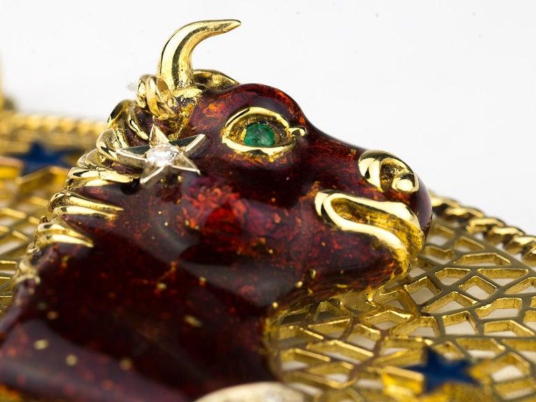Taurus Zodiac Pendant by Frascarolo For Sale 2