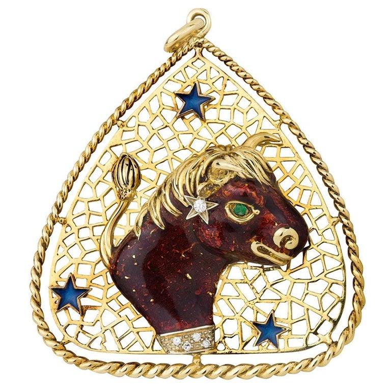 Taurus Zodiac Pendant by Frascarolo For Sale