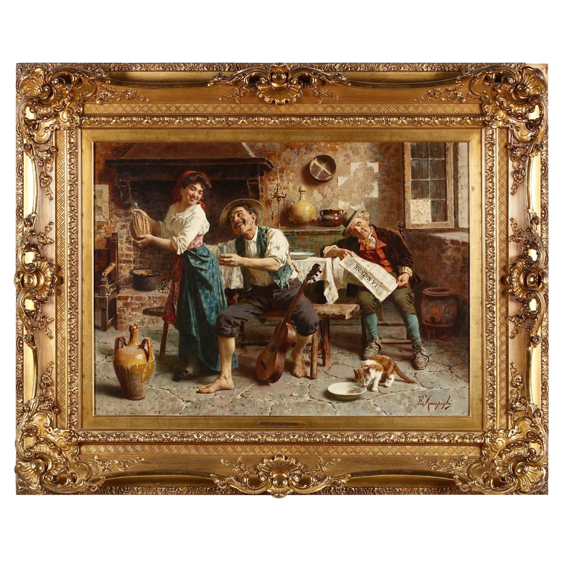 Tavern Scene by Eugenio Zampighi, Signed Oil Painting