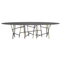Large Italian Marble Oval Dining Table in Painted Metal & Brass by Dimoremilano