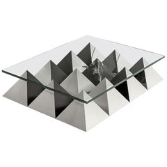 ANDROGINO Low Coffee Table Glass Top, Marble & Steel Base by Dimoremilano