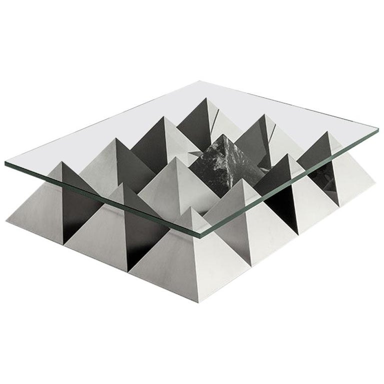 ANDROGINO Low Coffee Table Glass Top, Marble & Steel Base by Dimoremilano For Sale