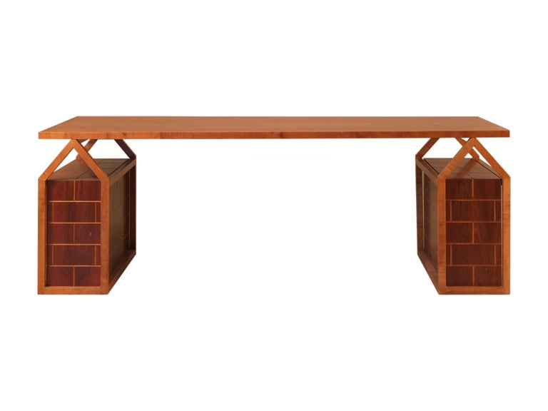 Tavolo Casette, table made of maple and walnut wood designed by Ugo La Pietra and manufactured by Morelato for the
