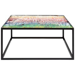 Tavolo Merendine Coffee Table in Metal and Rainbow Resin by Emanuela Crotti