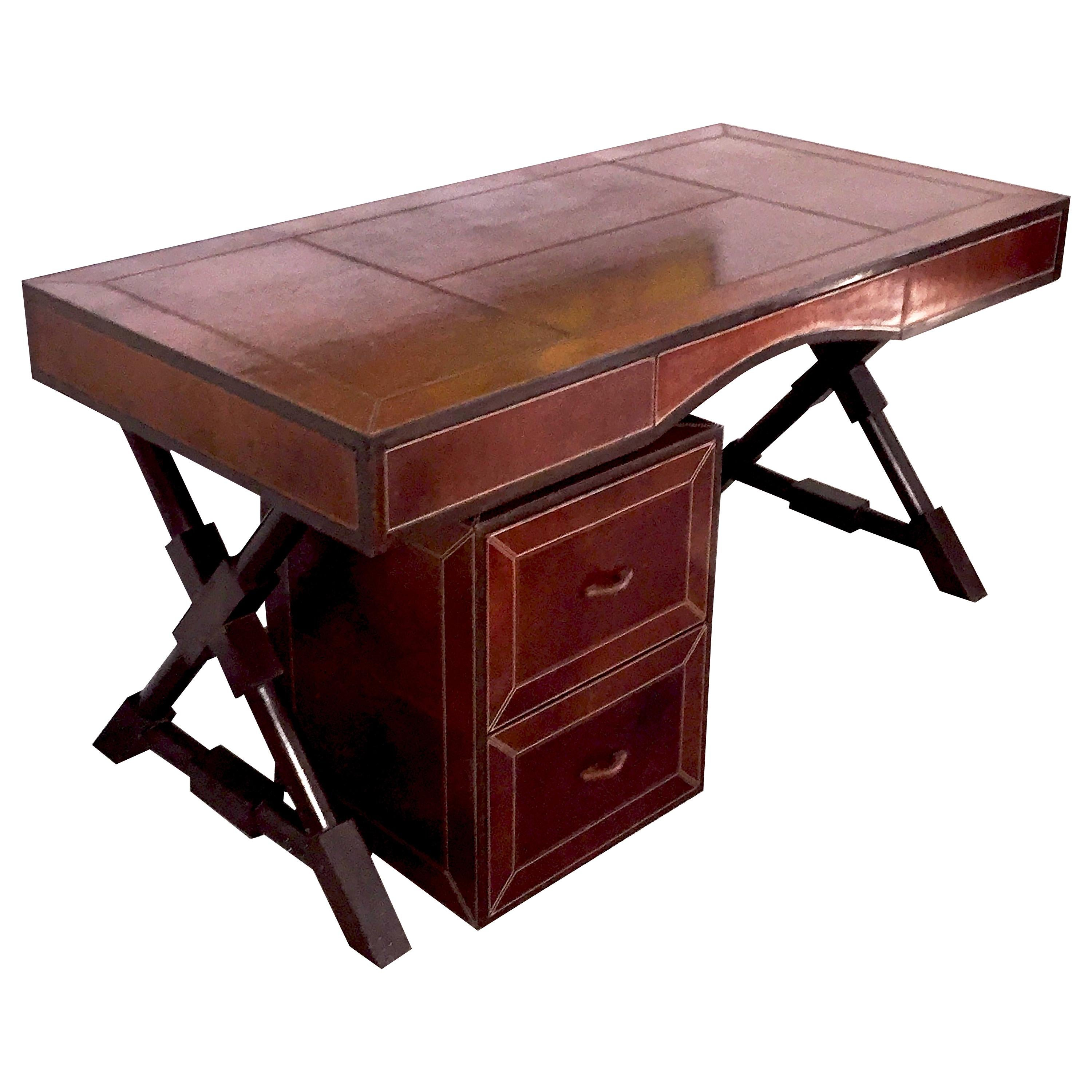 Tawny Color Leather X-Shaped Wood Base Desk in the Style of J. Adnet, circa 1980