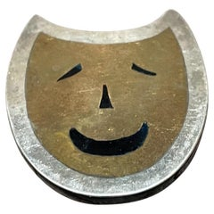 Taxco Cat Smiling Modernist Sterling Silver Brass & Onyx Brooch Pin Mexico 1970s