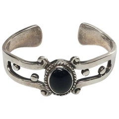 Taxco FDH Sterling Silver Black Onyx Cuff Bracelet