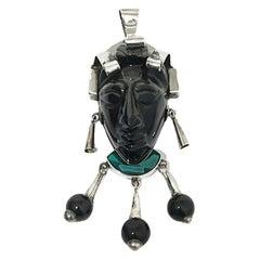 Taxco Mexican Silver Aztec Mask Face Pendant, TC-110