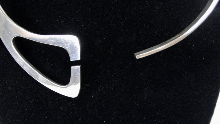 Taxco Mexico Silver Modernist Collar Choker  In Good Condition For Sale In Scottsdale, AZ