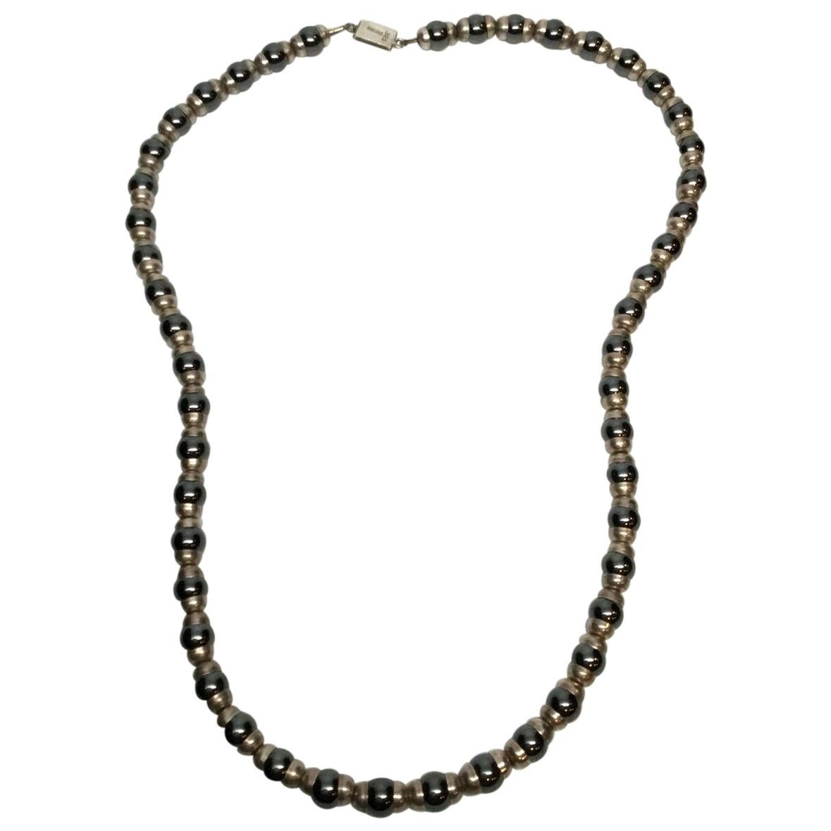 Taxco Mexico Sterling Silver and Hematite Bead Necklace TH-64