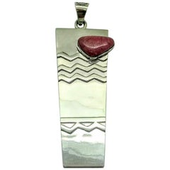Taxco Mexico Sterling Silver Raspberry Rhodonite Textured Pendant