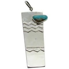 Taxco Mexico Sterling Silver Turquoise Textured Pendant