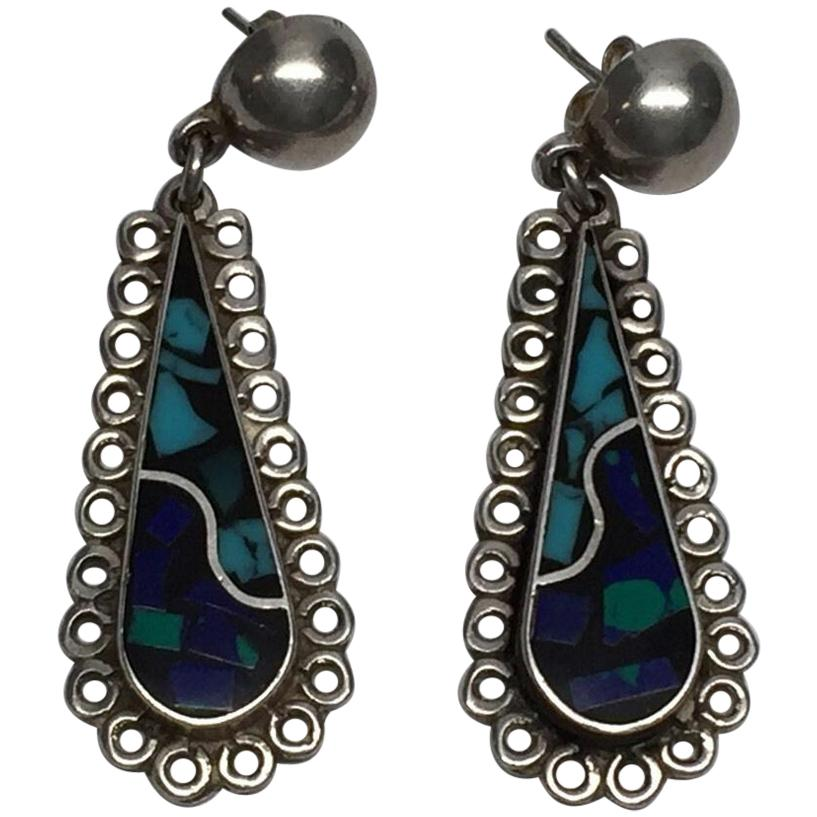 Taxco Mexico TJ-64 Sterling Silver Inlay Dangle Earrings
