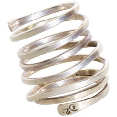 Taxco Sterling Silver Coiled Spiral Wrap Ring 1970s Mexican Modernism