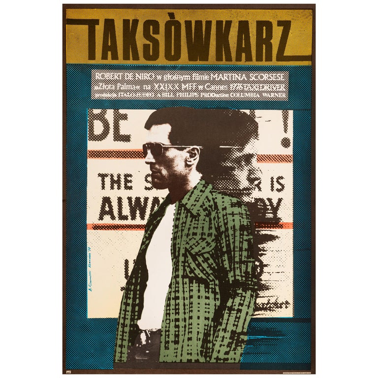 'Taxi Driver' Original Vintage Movie Poster by Andrzej Klimowski, Polish, 1978 For Sale