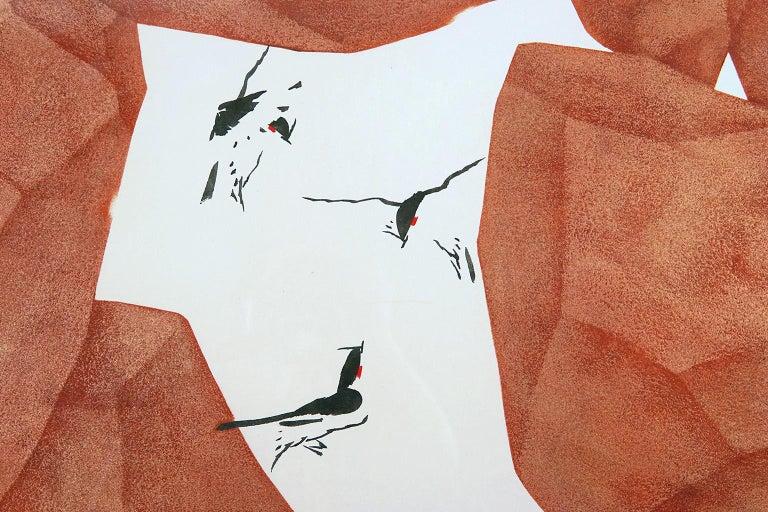 Hiding, Seeking - Orange Landscape Painting by Tay Bak Chiang