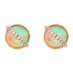 Taygeta Earrings, Ethiopian Opals, White Diamonds, 18 Karat Rose Gold