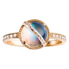 Taygeta Ring, Rainbow Moonstone, White Diamonds, 18 Karat Rose Gold