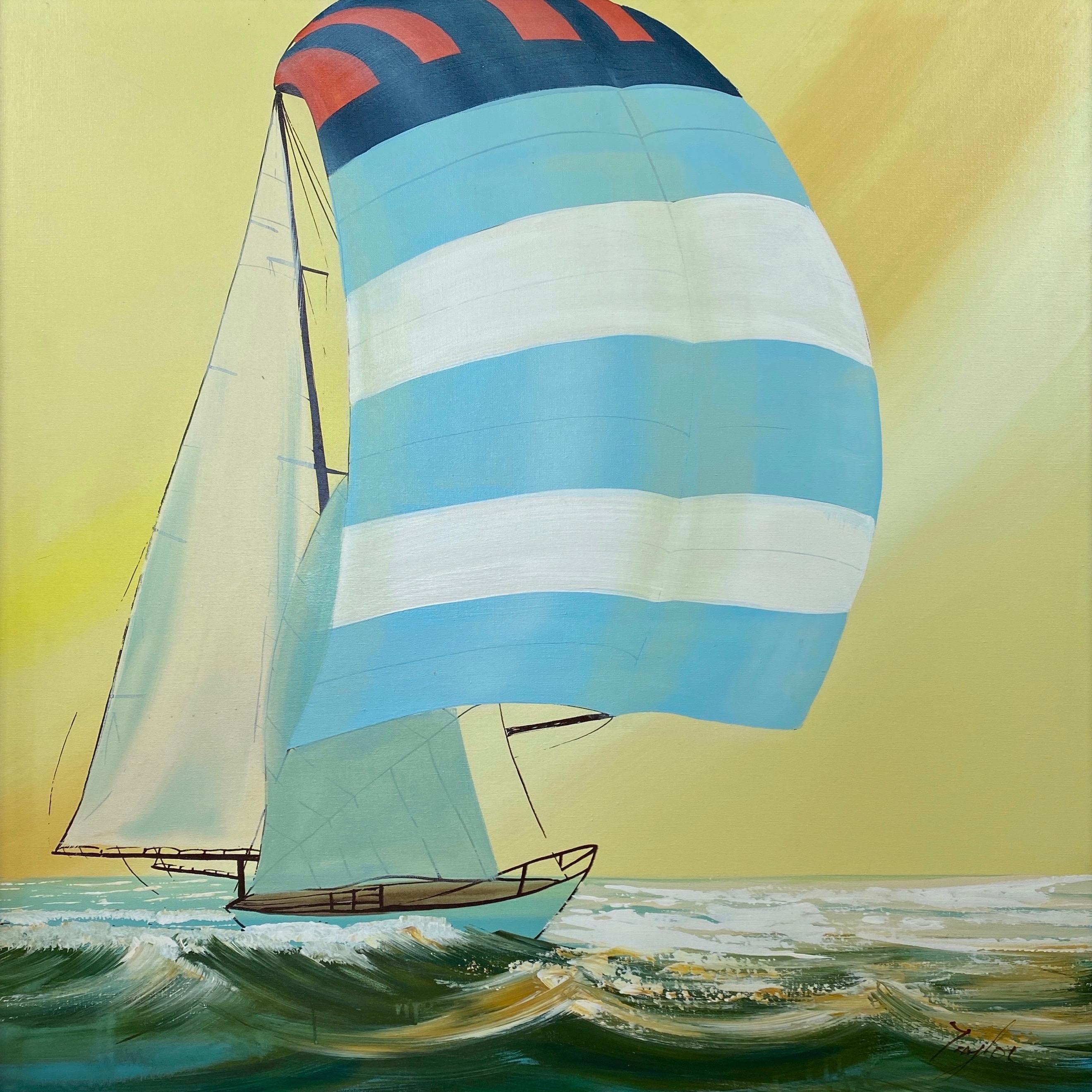 """Large and Dynamic Untitled Sailboat Painting, Signed """"Taylor"""", 1970s"""