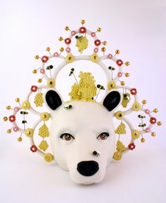 BEES AND A BEAR - porcelain ceramic sculpture with bear, bees and flowers