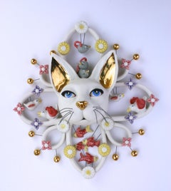 CAT ATTACK - porcelain ceramic sculpture with cat, birds, mice, fish and flowers