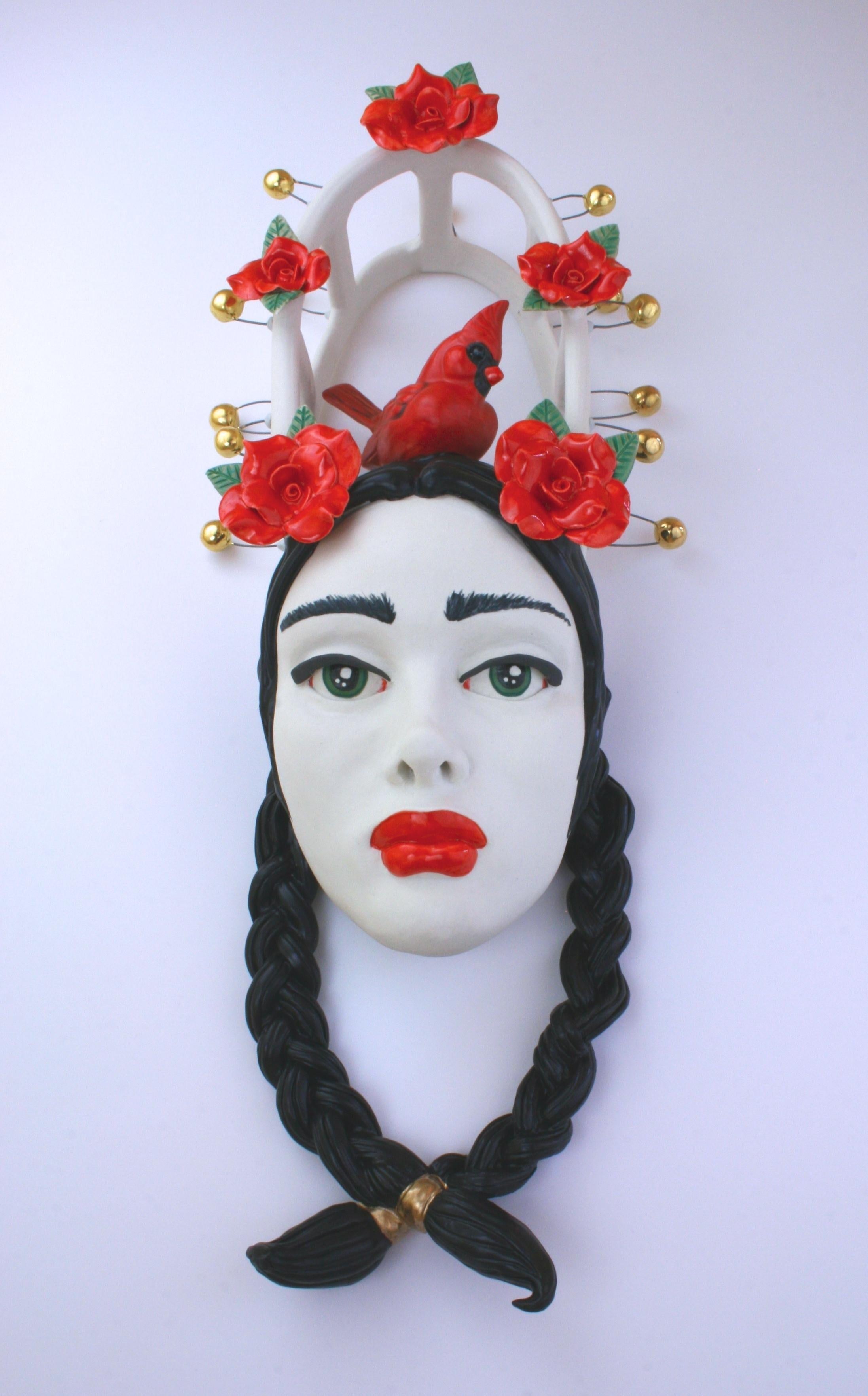 I AM RED HOT RED - porcelain ceramic sculpture with woman, cardinal and roses