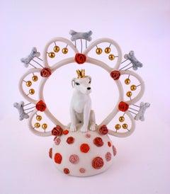 KING DOG BONE - porcelain ceramic sculpture of dog with crown, bones and roses