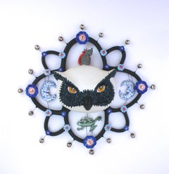 OWL OF DARKNESS - porcelain ceramic sculpture of owl, mouse, lizard and moon