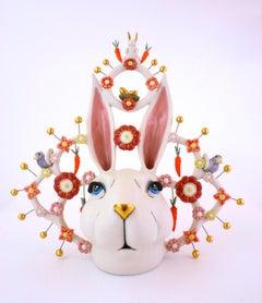 ROBUST RABBIT - porcelain ceramic sculpture of rabbit, carrots, bird and flowers